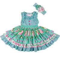 eski çocuklar toptan satış-Yeni Yaz Kız Elbise Çocuk Kolsuz Çizgili Çiçek Baskılı Fırfır Pamuk Kafa Bandı ile Vintage Plaj Çocuk Giysileri Giysileri