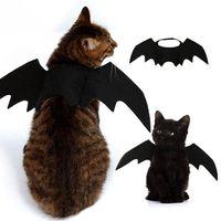 trajes de murciélago negro al por mayor-De gato del traje de Halloween Pequeño Gato alas de murciélago de Halloween para mascotas Accesorios decoraciones de Halloween negro alas de murciélago