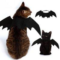 черные костюмы летучих мышей оптовых-Симпатичные Хеллоуин костюм кошки Малый Pet Cat Крылья летучей мыши Halloween Pet аксессуары Хэллоуин украшения Черные Крылья летучей мыши