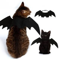schwarze fledermauskostüme großhandel-Süße Halloween Katze Kostüm kleines Haustier Katze Fledermausflügel Halloween Haustier Accessoires Halloween Dekorationen Schwarze Fledermausflügel