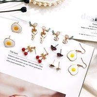 ingrosso uovo di smalto-Coreano delicato uovo fritto cuore uccello orecchini per le donne gioielli in cristallo smalto lega orecchini dichiarazione regalo ragazza femminile