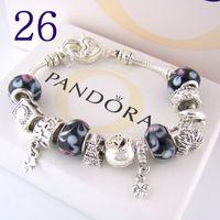 Wholesale red ceramic box resale online - Hot AAA2 Charm Bracelets Silver Pandora Bracelets come with box pouch