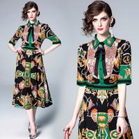 elegante französische kleider großhandel-Abendkleid Kleid Vintage Grün Französisch Stil Print Umlegekragen Elegante Dame Midi New Fashion Charming Dress 3381