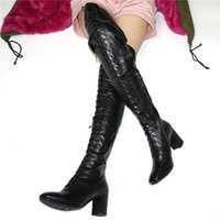 Wholesale rubber shafts resale online - NAYIDUYUN Thigh High Pumps Women Shoes Lace Up Straps Over The Knee Booties Square Toe Tall Shaft Punk Evening Motorcycle Boots
