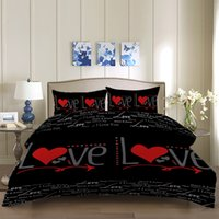 Wholesale love bedding sets king for sale - Group buy Love pattern printed bedding set with pillowcases duvet cover set queen King twin sizes bed linens double bedclothes bed