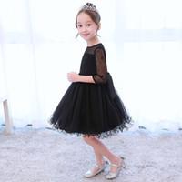 vestido preto jovens venda por atacado-Princesa menina festa de aniversário Cinderela vestido preto Kid roupas vestido Young Girl Celebrating novo vestido elegante, vestidos de crianças