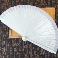 Wholesale hand fans wood for sale - Group buy White Wood Folding Hand Fan Party Favor Gift Wedding Prom Dance Fan