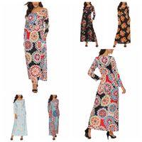 uzun maxi elbise parti çiçekleri toptan satış-Çiçek Çiçek Elbiseler Kadınlar Maxi Bohemya Parti Uzun Kollu Elbise Tatil Casual Elbise Baskı Vintage Elbise LJJA3399-13 Cepler