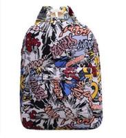 рюкзак спортивный багаж оптовых-Дизайнерский рюкзак джан спортивный рюкзак Повседневная Граффити холст рюкзак мужчины дорожные сумки Лоскутная мода школьная сумка