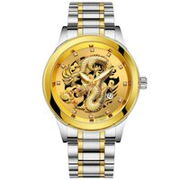 ingrosso polso del drago-Luxury Dragon Embossed Watches Men Watch Fashion Orologio da polso d'oro Diamond Calendar Orologio al quarzo Orologio Relogio Masculino Erkek Kol Saati