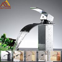 robinets de lavabo uniques achat en gros de-En gros et au détail livraison gratuite moderne chrome cascade bec bassin du robinet mitigeur pont monté mitigeur