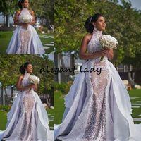 geschwollene spitzenhochzeitskleider großhandel-Plus Szie Afrikanische Brautkleider mit Abnehmbarem Zug 2019 Modest High Neck Puffy Rock Sima Brew Country Garden Royal Brautkleid