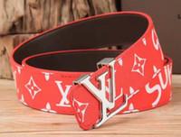 name marke gürtel mann großhandel-Marke Gürtel Marke Herren-Ledergürtel Luxus LAbrand hochwertiges Leder rot sup berühmte Designer Gürtel Metallschnalle ceinture fre