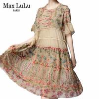 coreano vestido de renda senhora venda por atacado-Max verão moda de luxo coreano senhoras bordado roupas das mulheres elegante floral chiffon vestidos sexy lace casual vestidos