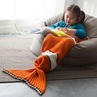 ingrosso pesce artigianale a crochet-Coperta fatta a mano all'uncinetto a maglia Coda di pesce a fantasia coperta arancione per bambini Bambini Primavera / Autunno Divano Sacco a pelo B001 # 3