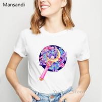 Wholesale anime wand resale online - Anime shirt women blue wand print cartoon tee shirt harajuku kawaii tshirt femme summer top female white t shirt