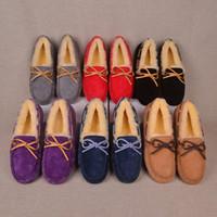 erkekler için en üst kat toptan satış-Marka Kadın Erkek Ayakkabı Süet Makosenler Lüks Kış Boots Avustralya UG Kürk Loafers Doug Tekne Boot Moda Bayan Flats Ayakkabıları C101402 Sürüş