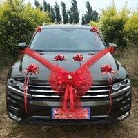 ingrosso rose di fiori di nozze artificiali di seta-Rifornimenti di festival delle decorazioni delle automobili dell'automobile di Tulk di Bowknot del fiore di Tulle del fiore decorativo decorativo dell'automobile di cerimonia nuziale