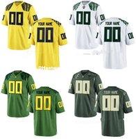 camiseta de fútbol juvenil verde al por mayor-Custom Custom Oregon Ducks College camiseta Hombres Mujeres Jóvenes Kid Personalizado Cualquier número de cualquier nombre Cosido Verde Blanco camisetas de fútbol XS-3