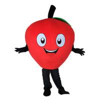 ingrosso vendita mela rossa-Vendita diretta Little Red Apple Mascot Costume Personaggio dei cartoni animati Costume Adulto Fancy Dress Costumi di carnevale di Halloween Shippin libero di SME