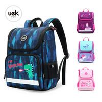 Wholesale girls cat school bags resale online - 2019 Brand UEK New Boys Girl School Bags D Cute dinosaur Cat Pattern Waterproof Orthopedic Backpack Schoolbag Mochila Infantil