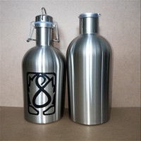 Wholesale big swing resale online - custom logo oz stainless steel Beer Growler with Flip Top Big capacity Liter beer bottle with swing top L single wall beer barrel keg