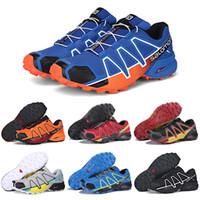 Wholesale mens soft spikes running shoes resale online - Salomon Speedcross IV CS Trail Running Shoes Black Orange Blue Speed Cross Women Mens Trainer Outdoor Hiking Sports Sneakers