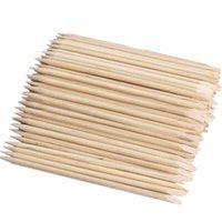 empurrador de cutícula vara de madeira laranja venda por atacado-100 pc / set orange sticks cutícula empurrador removedor de cutícula para nail art care manicure ferramentas prego dupla face orange vara de madeira