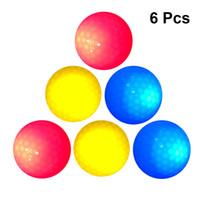 ingrosso palla di gomma principale-6pcs LED Light Up Golf Ball Ultra Bright Colore lampeggiante elettronico Golf Ball Materiale gomma Novità per allenamento notturno