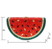 ingrosso borse a forma di frutta-Dgrain Watermelon Shape Women Crystal Evening Minaudiere Bag Fruit Wedding Dinner Bridal Clutch Handbag Borsa Donna Prom Bag Cluthch Borse