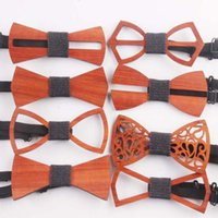 Wholesale red vintage accessories for sale - 9 Styles Vintage Red Rosewood Bow Ties Hollow Out Bowknot For Gentleman Wedding Wooden Bowtie Fasion Accessories CCA11257