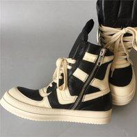 botas de salto alto hip venda por atacado-Hot Venda de alta qualidade Fim de couro genuíno botas húmido clássicos Nostalgic quadril botas de rua hop rocha