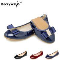 zapatos plegables mujeres al por mayor-Más el tamaño 34-43 zapatos de las mujeres plegables del cuero del ballet Pisos PU de la patente zapatos de primavera y verano de las señoras planas manera de la mujer de los holgazanes