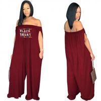 Wholesale wide leg jumpsuits online - Off Shoulder Letter Print Jumpsuit Long Loose Pocket Romper Wide Leg Pant Casual Party One piece Dress LLA296