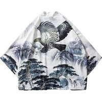 árvores japão venda por atacado-Hip Hop Streetwear Camisas Dos Homens Jaqueta Pintura Chinesa Águia Árvore Imprimir 2019 Harajuku Kimono Jacket Verão Japonês Fino vestido de Estilo Japão