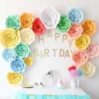 papel flores decorações de parede venda por atacado-Diy flores de papel backdrop artificiais diy papel de parede decoração da festa de casamento decoração de festa de dia dos namorados decoração do quarto