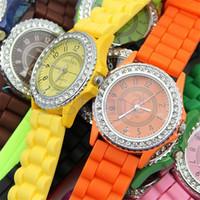 Wholesale geneva fashion watches online - Luxury Diamond GENEVA Watches Silicone Stripe Wristwatches Fashion Candy Color Watch Unisex Quartz Wrist Watches For Men Women Gifts