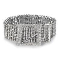 luxo strass diamante venda por atacado-Mulheres Brilhante Cinto Cadeia Cristal Diamante Cintura completa Rhinestone Luxo Grande Partido Belt Cintura Para Vestido MMA2662-A1