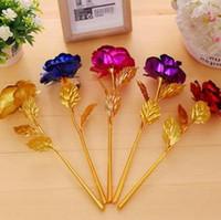 blumenartikel großhandel-24K Gold überzogenes Rose Flower 5 Farben 24cm Valentinstag romantische goldene Blumen-Neuheitseinzelteile OOA6122