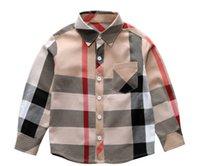 bluz uzun kollu satışı toptan satış-Sıcak Satış Ekose Gömlek Çocuk Çocuk Erkek Kız Uzun Kollu Düğmeler Cep Gömlek Yaka Aşağı Çevirin Yaka Bluz Rahat