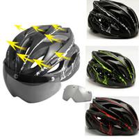 capacete integral preto vermelho venda por atacado-Bicicleta Capacete de protecção magnética com óculos de proteção Capacete de Ciclismo exterior Desporto Adjustable Safety Helmet Visor