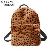 школьные сумки для леопарда оптовых-Mara's Dream Preppy Style Female Backpacks Vintage Leopard Print Bookbags Canvas School Bag Teenager Girls Travel Rucksack Bags