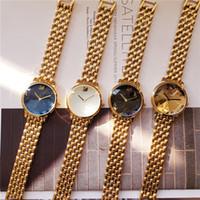 свадебные наручные часы оптовых-2019 Новый Дизайн 18 К Позолоченные SWAROVSKI Женские Часы Из Нержавеющей Стали Наручные Часы Высокого Качества Кварцевые Часы Gemstone Glass Dial