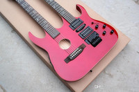 Wholesale double necks guitars resale online - Custom manufacturer and retail best price double neck red electric guitar strings bright red and special pattern fingerb