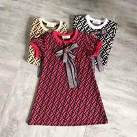 ingrosso i grandi abiti dei capi di marca-2019 New F Style Estate grande marca bambini ragazze vestono estate manica corta lettera stampa bambini abbigliamento per bambini