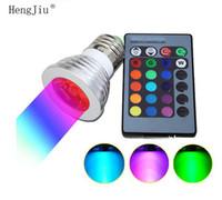 led rgb spotlight 16 mudança de cor venda por atacado-Em estoque LED RGB Lâmpada 16 Mudança Da Cor LED Holofotes 4 w RGB levou Lâmpadas E27 GU10 E14 MR16 GU5.3 com 24 Chave De Controle Remoto 85-265 v