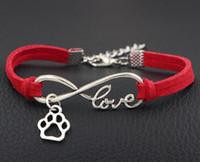 pulseira de couro do cão venda por atacado-2019 novo estilo quente melhor amigo dog paw encantos pingentes de coração de prata infinito amor pulseira de corda de veludo de couro multi cores para escolher unisex
