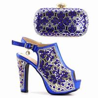 königliche blaue schuhe für frauen hochzeit großhandel-Designer Neueste Royal Blue Frauen Schuhe und Tasche In Italien Afrikanische Schuhe und passende Taschen Italienische Hochwertige afrikanische Hochzeitsschuhe