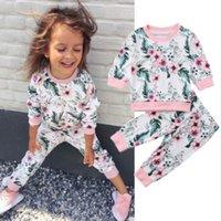 tasarımcı giysileri uzun üstler toptan satış-Kız Çiçek Giyim Uzun Kollu Top Çocuk Tasarımcı Giyim Kız Çiçek Baskılı Pants tulum 0-3T 04 ayarlar