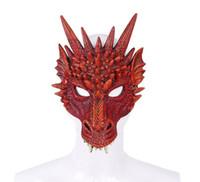 animales de espuma 3d al por mayor-Mardi gras Halloween Carnival Party PU Foam 3D Animal Dragon Mask Masquerade Mascarada GB426
